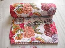 Cotton Indian Sanganeri Block Print Summer Blanket Kantha Reversible Bed Throw