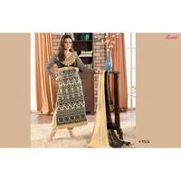 Preity Zinta Designer Black & Cream Embroidered Straight Long Chudidar Salwar Kameez