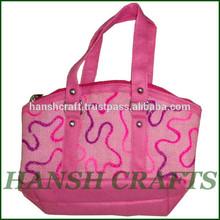 Printed jute bag ladies fashionable printed jute bag 2015 hot sale shopping bag