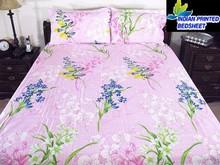Pink Floral Bedroom Fine Indian Linen Cotton Bed sheet Bright colorful Floral used home bedsheet,full set bedding textile