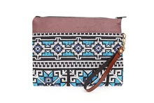 Brown Leather Wristlet with Kilim Pattern - White