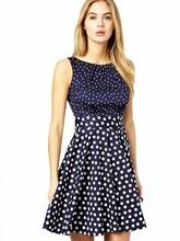 2015 Latest western wear design fashion trendy dot print a line sleeveless one piece sexy party dress