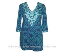Cotton Tunics Designer Clothing Beautiful top tunic printed high fashion women Tops