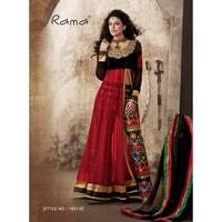 Designer stylish red & black embroidered with embroidered anarkali salwar kameez