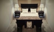 Ashanti Sleigh Bed and Pedestal Set