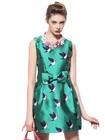 2015 Latest western wear designer fashion trendy cute bird o neck bow sleeveless bubble maxi casual one piece party dress