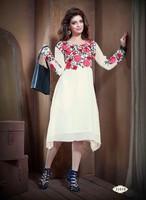 Western White Floral Georgette Designer Short Kurti