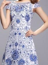 2015 Latest western wear designer fashion trendy flower embroidery o neck polyester party wear one piece dress