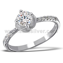 925 Sterling Silver Prong CZ Princess Round Cut Thin Band Women Ring Wholesale Jewelry Unisex Ring