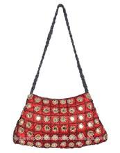 Wholesale Indian Jaipur Handmade Designer Beaded With Mirror Work Poly Satin Shoulder Brown Bag