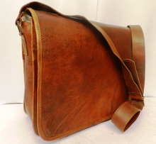 Brown color real leather messenger bag/cross body bags