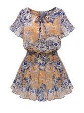 2015 Latest western wear designer fashion trendy floral print elastic waist o neck chiffon one piece party wear dress