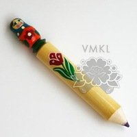 Big Pencil with Matryoshka, made of wood and hand painted, AP2