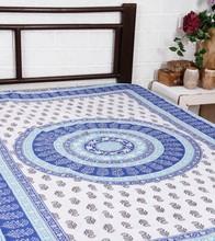 indian 100% Black Block Printed Cotton Bed Sheet