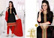 Designer great Angel black & red embroidered chanderi short chudidar salwar kameez