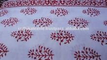RTC- 53 Red Flower Hand Block Printed Fabric 100% Cotton Natural Fabric Manufacturer Jaipur