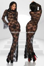 Sexy Women Elegant Long Negligee Lace Dress