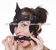 2015 gothic Black bondage Pony Girl Handmade Black Leather Head-Dress leather material