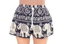 Navy Blue Asian Elephants Summer Shorts Colorful Beachwear Thailand