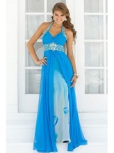 New Arrival 2015 latest Fashionable A-line gown halter top chiffon beading zipper blue long prom dress