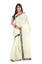Triveni Pleasing Cream Colored Brocade Bordered Cotton Silk Saree 12787
