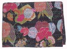 jaipur handmade cotton kantha bedsheet, new fruit print kantha quilt bedsheet, bedspread