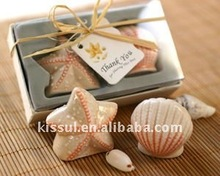 Wedding favors of Seashell and starfish ceramic salt and pepper shakers