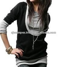 stylish striped printed elongated woman t-shirt 2015,women stylish long t-shirt elongated t shirt