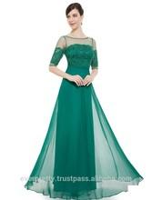 Elegant Green Half Sleeves Maxi Vintage Evening/Party Dress HE08459GR