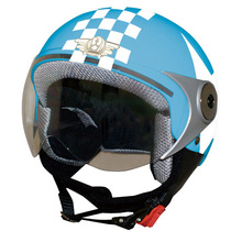 Big star motif and check pattern open face type helmet for motorcycle.