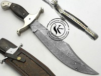 Khan Enterprises Custom Beautiful Damascus Steel Bowie Knife (Screw-4)