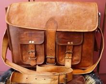 real goat leather messenger bag