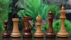 "The Collector Series Hand Crafted Wooden Club Chess Pieces in Sheesham & Box Wood - 4.8"" King (SKU: M0064) FREE SHIPPING"