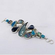 Muito rara de cor multi 925 pulseira de prata esterlina, jóias de prata artesanais, online jóias de prata