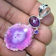 Améthyste, Geode slice pendentif pierres précieuses 925 Sterling pendentif pas cher Fusion jolie Esp808