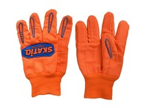 Hi-Vis Double Palm 100% Cotton Gloves Oilfield Oil and Gas IMPACT PROTECTION