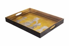 Large serving tray in brass and pewter with wayang pattern