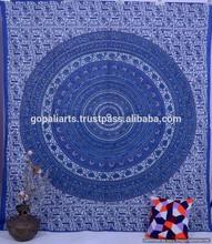 Elephant Mandala Queen Wall Hanging, Bed sheet, Cotton Handmade Hippy Decor Bohemian Mandala Indian Gypsy Art Tapestry
