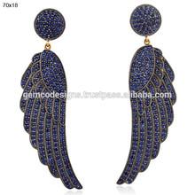 18k Gold Blue Sapphire Gemstone Earrings, Pave Settings Sapphire Gemstone Earrings, Gemstone Fashion Earrings Jewelry