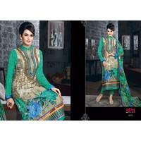 Designer Party Wear Pakistani Cream & Sea Green Georgette Printed Embroidered Straight Salwar Kameez