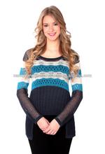 Nancy Yang Women's Long Sleeve Pointelle Knit Flower Sweater