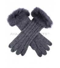 Womens Cable Knit Gloves with Fur Cuffs