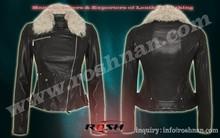 winter black fur jacket for girls unique women fashion leather lambskin jacket biker style
