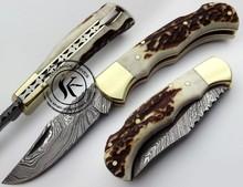 Custom Made Damascus Steel Pocket Folding Knife (S.03)