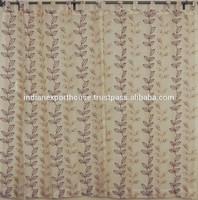 indian Embroidered Sheer Indian Curtains 2 Lemon Chiffon Organza Window Treatments