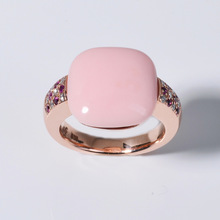 Ring 585 Rosegold with Coral, Brillants and Rubies