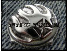 Flaming Iron Cross Bws-3 Sterling Silver Biker Wallet Snap