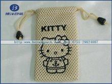hello kitty drawstring bag mesh for mp3/mp4