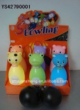 Plastic cartoon animals electronic bowling toy with Music & lights