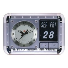 large rectangle flip wall clock with thermometer & hygrometer